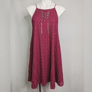 Anthro Kimchi Blue Pink Croc.High Neck Flare Dress